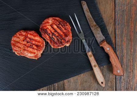 Gourmet Grill Restaurant Steak Menu - New York Beef Steak On Wooden Background. Black Angus Prime Be
