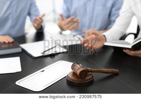 Gavel on table in lawyer's office