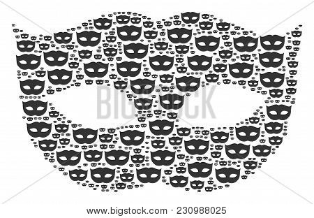 Privacy Mask Composition Made In The Collection Of Privacy Mask Pictograms. Vector Iconized Composit