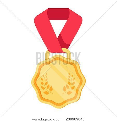 Win Medal Icon Award Prize Illustration. First Place Sign Success Symbol. Reward Program. Win Super