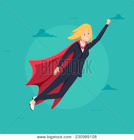Super Business Woman With Red Cape Character Vector. Leadership Concept. Creative Modern Business Su