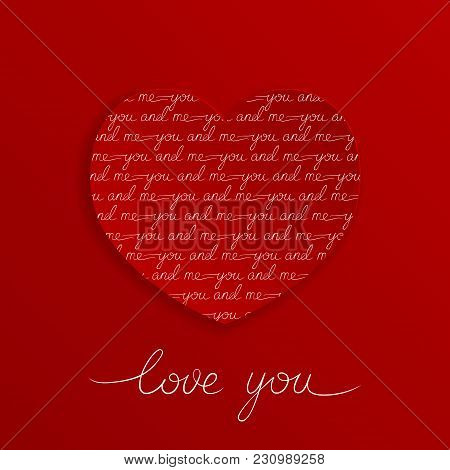 Love You Lettering Greeting Card On Red Background. You And Me