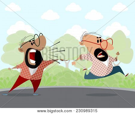 Vector Illustration Of Two Cartoon Men Outdoors