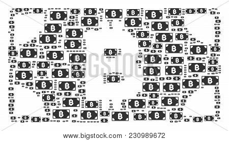 Bitcoin Cash Banknote Collage Designed In The Shape Of Bitcoin Cash Banknote Icons. Vector Iconized