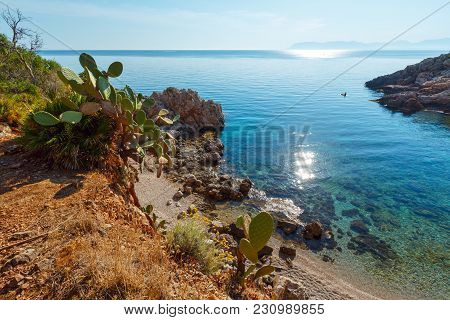 Paradise Sea Bay With Azure Water And Beach. View From Coastline Trail Of Zingaro Nature Reserve Par
