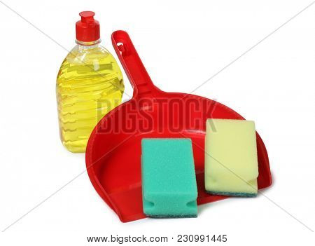 Tools for cleaning on a white background