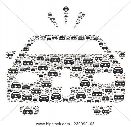 Emergency Car Figure Composed In The Figure Of Emergency Car Pictograms. Vector Iconized Collage Con