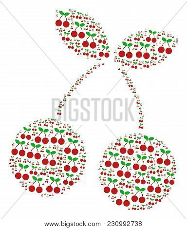 Cherry Figure Designed In The Group Of Cherry Pictograms. Vector Iconized Composition Done With Simp