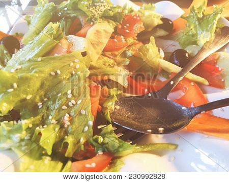 Salad. Vegetable Salad. Spring Vegetable Salad.fresh Vegetable Salad With Tomatoes Onion Cheese And