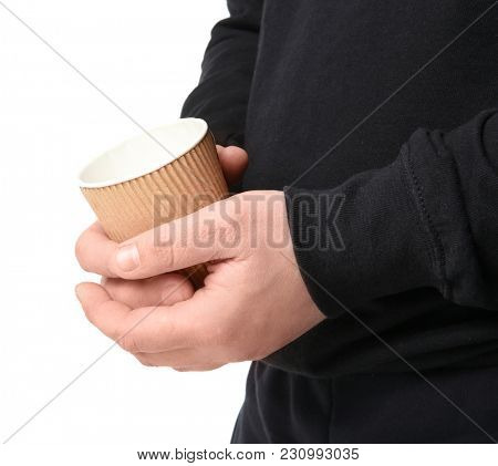 Poor man with cup, isolated on white