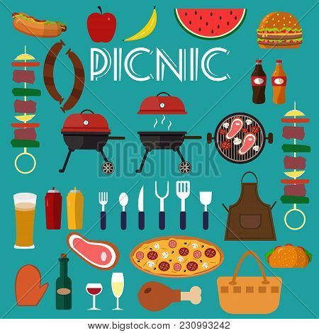 Barbecue Grill Set Food Vector Illustration. Summer Barbecue Party Flat Icons Collection With Grille