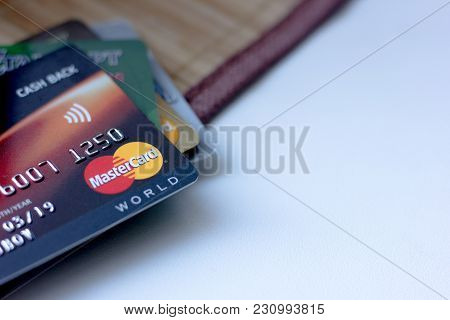 Ryazan, Russia - February 27, 2018: Few Credit Cards Of Mastercard Company Over The White Table