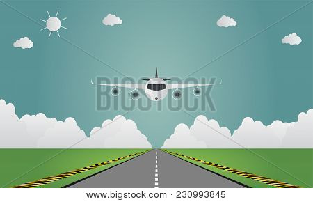 Airplane Lands On Airport On Runway A Plane Landing Or Taking Off.vector Illustration