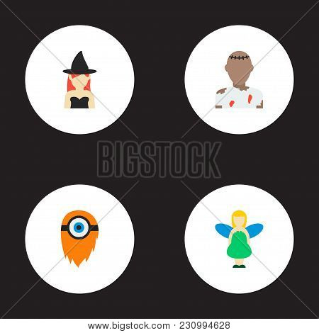 Set Of Character Icons Flat Style Symbols With Witch, Cyclop, Zombie And Other Icons For Your Web Mo