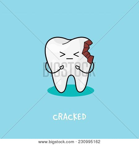 Cracked Tooth Icon. Cute Tooth Character. Dental Personage