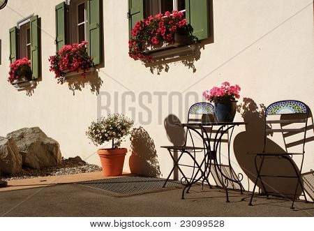 Sunny front with table