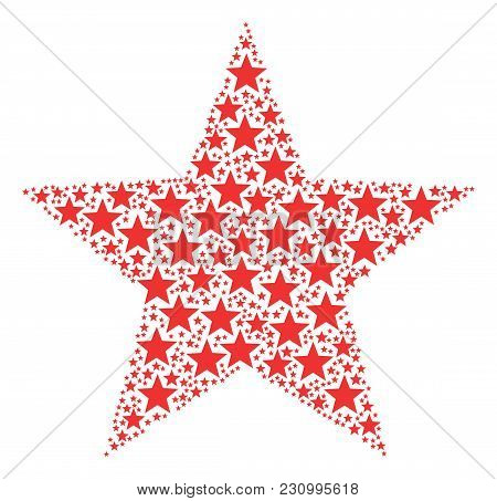 Fireworks Star Collage Combined In The Figure Of Fireworks Star Pictograms. Vector Iconized Composit