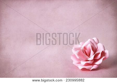 Mothers Day Card With Paper Rose On Grunge Background