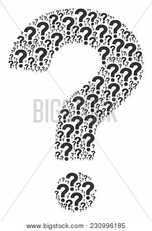 Question Pattern Organized In The Combination Of Question Elements. Vector Iconized Collage Organize