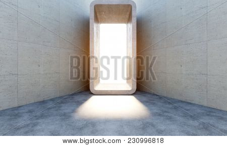 sunny light from abstract concrete huge portal 3d rendering image