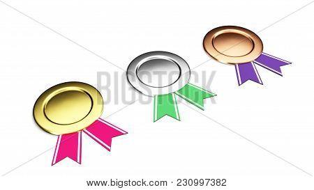 Gold, Silver, Bronze Badges Set Isolated On A White Background 3d Illustration Render.