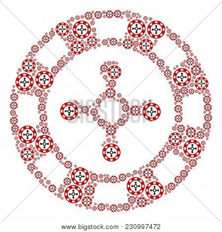 Roulette Casino Chip Pattern Made In The Group Of Roulette Casino Chip Icons. Vector Iconized Compos