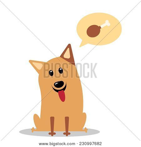 The Dog Thinks About Food. Pet Sits On A White Background. Vector Flat Icon Illustration Eps10