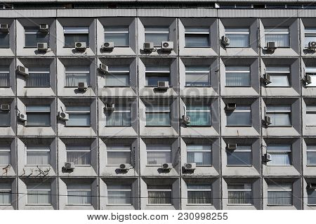 A Fragment Of The Ugly Facade Of The Old Air-conditioning In Moscow