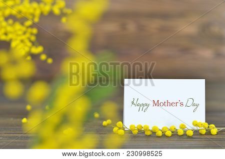 Happy Mothers Day Card With Mimosa Flowers