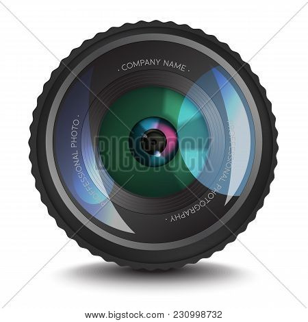 Photo Lens Icon With An Optical Flare. Realistic Photo Lens With Place For Text On It. Element For P