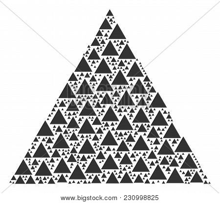 Triangle Figure Collage Composed In The Set Of Triangle Figure Elements. Vector Iconized Collage Con