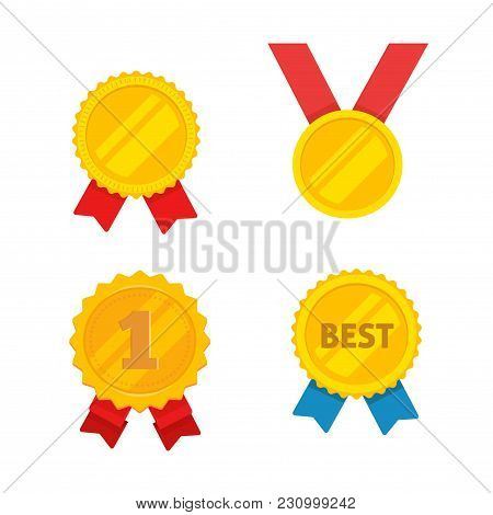 Medal Gold Vector Set, Flat Cartoon Golden Medallion, Award Symbol, Achievement Badge Isolated