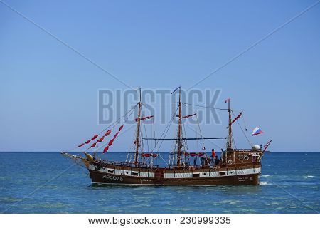 Koktebel, Crimea-june 27, 2015: Tourist Ship In Vintage Style On The Background Of Blue Sea And Hori