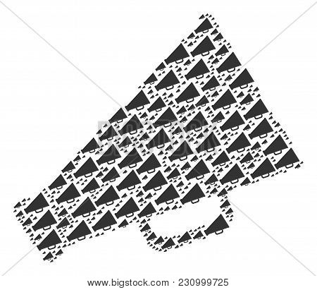 Megaphone Composition Constructed In The Combination Of Megaphone Icons. Vector Iconized Composition