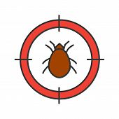 Mite target color icon. Parasitic insects repellent. Isolated vector illustration poster