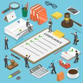 Regulatory compliance flat isometric vector concept. Businessmen are discussing steps to comply with relevant laws, policies, and regulations. poster