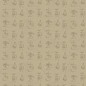 restrained retro old bamboo light beige color with imitation Japanese hieroglyphs seamless vector pattern poster