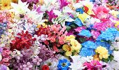 Artificial flowers colorful bouquet variety synthetic silk blooms huge varied arrangement              poster