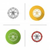 Mosquitoes target icon. Flat design, linear and color styles. Anti-insect repellent. Isolated vector illustrations poster