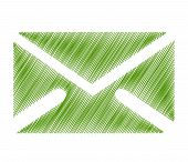 illustration of email symbol with isolated on green background poster