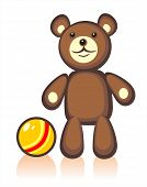 Toy bear and ball on a white background. Digital illustration. poster