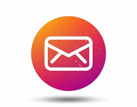 Envelope Icon. Send Email Message Sign. Internet Mailing Symbol. Circle Button With Soft Color Gradi