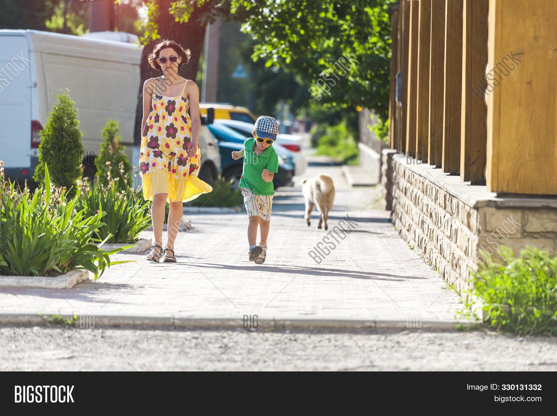 Mom Child Walking Image Photo Free Trial Bigstock