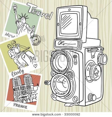 Travel with your vintage camera. Snapshots of different countries and old TLR camera on a wooden background poster
