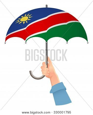 Namibia Flag. Hand Holding Umbrella. Social Security Concept. National Flag Of Namibia Vector Illust