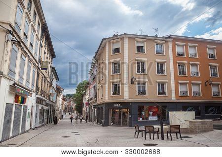 Bourgoin-jallieu, France - July 15, 2019: Rue De La Liberte, A Pedestrian Street With Traditional Fr