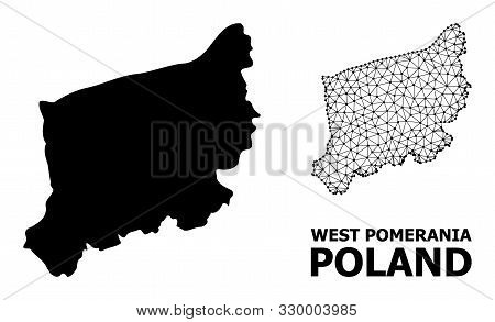 Solid And Mesh Vector Map Of West Pomerania Province. Linear Frame 2d Triangular Mesh In Vector Form