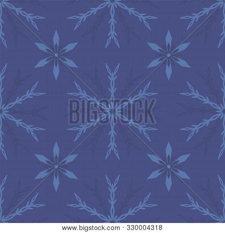 Geometric Snowflake Seamless Vector. Monocrome Blue Background.