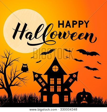 Halloween Night Vector Illustration With Full Moon Spooky Haunted House, Owl, Pumpkins, Bats And Cal