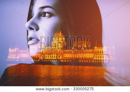 Double Multiply Exposure Portrait Of A Woman Face And Night View Of Budapest Parliament In Hungary.